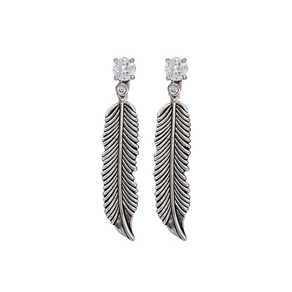 Montana Silversmiths Antiqued Silver Crow Feather on Crystal Stud Earrings