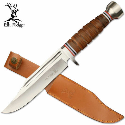 Elk Ridge Fixed Blade Hunter 305mm Stacked Leather Handle