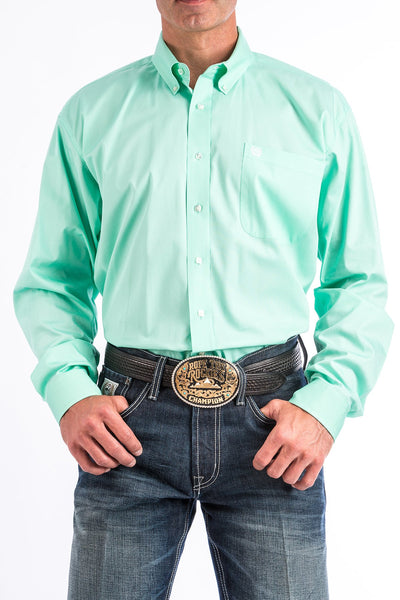 Cinch Men's Solid Mint Green Button Down Western Shirt