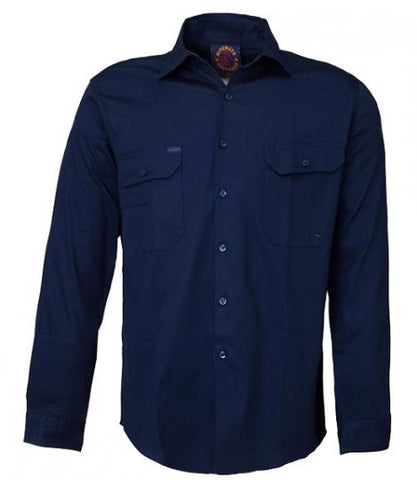 Rite Mate Open Front Long Sleeve Shirt Navy