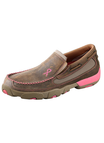 Twisted X Women's Pink Ribbon Slip-On Driving Moccasins