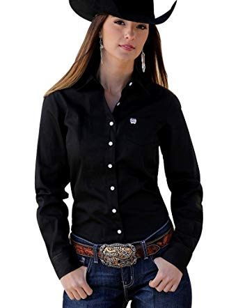Cinch Ladies Solid Black Blouse
