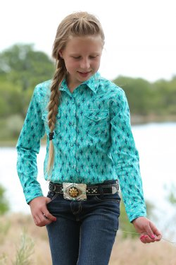 Cruel Girl Turquoise and Blue Cactus Print Western Snap Shirt
