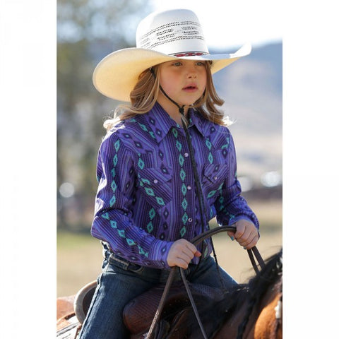 Cruel Girl Girl's Purple Aztec Retro Print Shirt