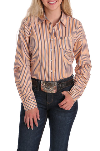 Cinch Women's Tencel Plum, Melon & White Striped Button-Down Shirt