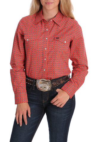 Cinch Women's Coral Southwest Print Snap Western Shirt