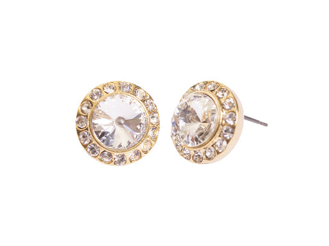 Steel Sapphire Rivoli Centre Stone Earring Gold Plated