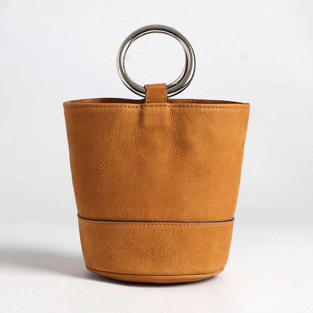 MANGO Handmade Suede Leather Bucket Bag
