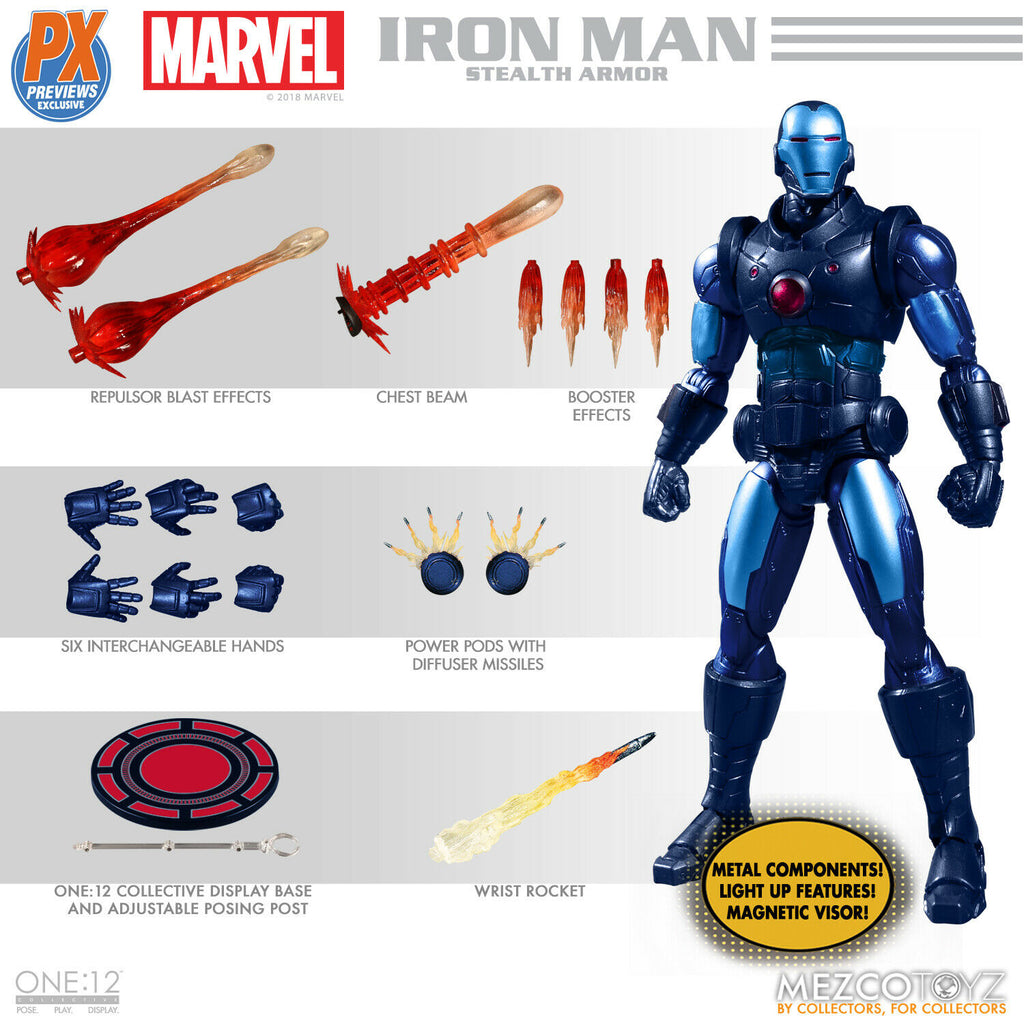 Mezco One:12 Marvel Iron Man Stealth Armor Previews Exclusive Action Figure