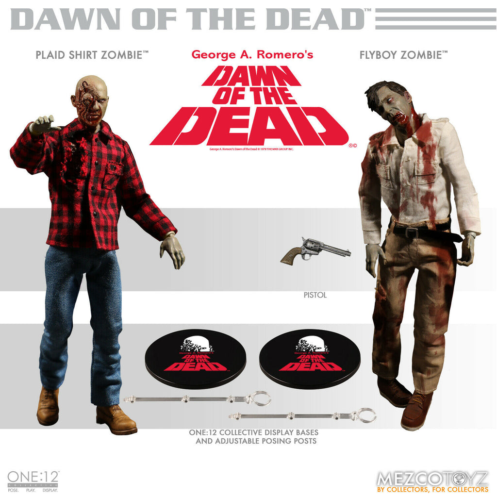 Mezco One:12 Dawn of the Dead Fly-Boy and Plaid Zombie Action Figure 2 Pack
