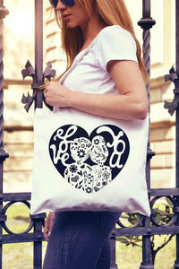 Love Couple Heart Tote Bag | Reusable Bag |