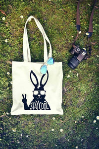 Stay Cool Rabbit Typography Tote Bag | Reusable Bag