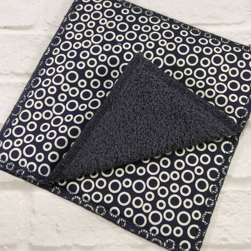 Reusable napkins navy blue circle