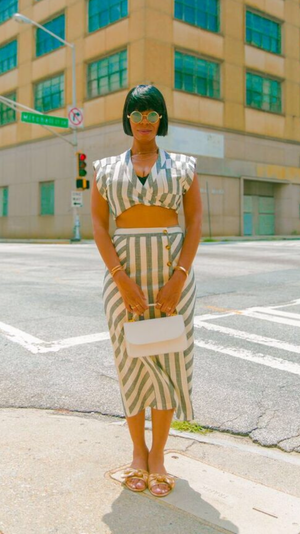 Stripe Set | Two Piece Skirt Set