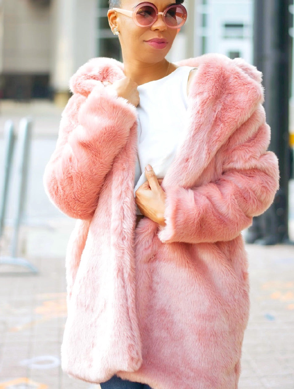 Pink Plush | Faux Fur Coat