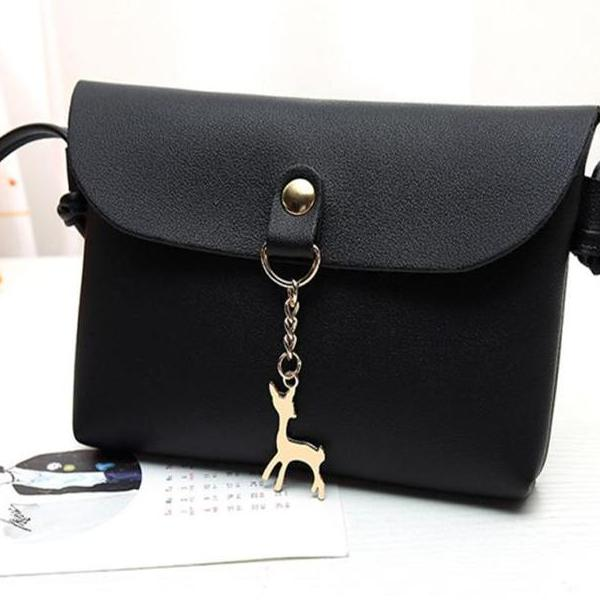 Women's Vintage Small Deer Pendant Leather Cross body Shoulder  Bags™