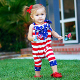 Summer Baby Girls American Flag Print Rompers - Crab-Vault