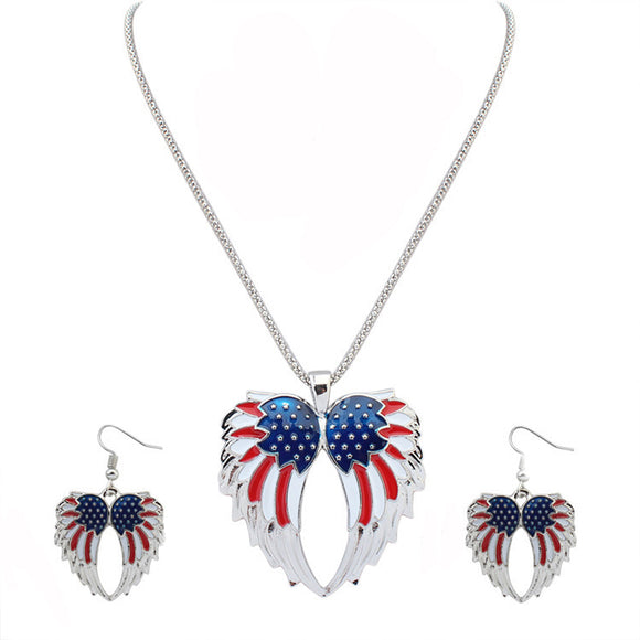 American USA Flag Design Pendant Necklace Earrings™ for Women - Crab-Vault