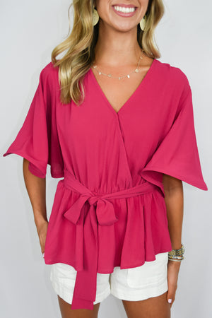 Berry Structured Bell Sleeve