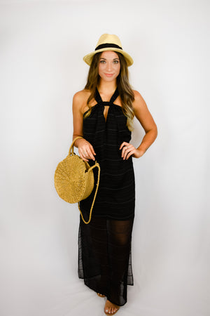 Black Knotted Maxi Dress