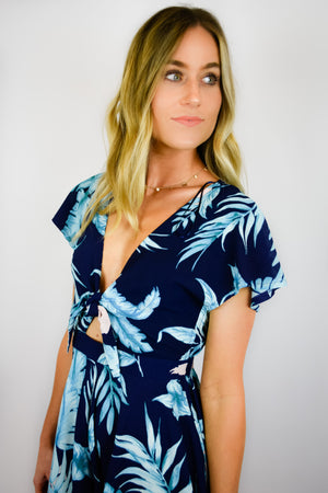 Navy Tropical Romper