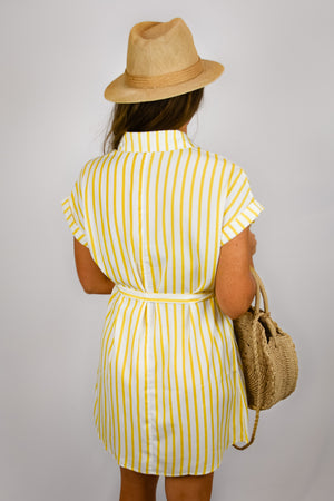 Lemondrop Striped Shirt-Dress