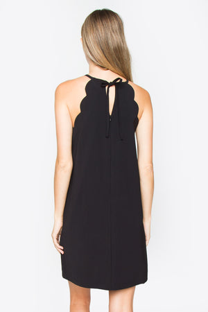 Black Scallop Shift Dress
