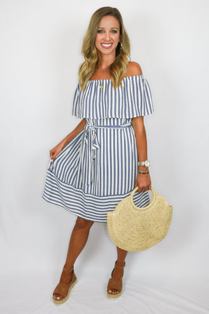 The Natalie | Nautical Off The Shoulder Dress
