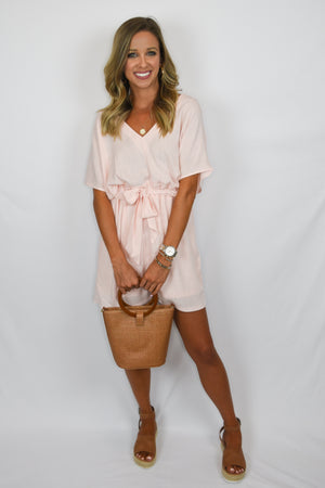 The Pippa| Peach Linen Dress