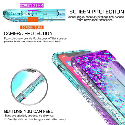 Tempered Glass Screen Protector Glitter Moving Quicksand Clear Cover Case for iPhone 11 Pro Max