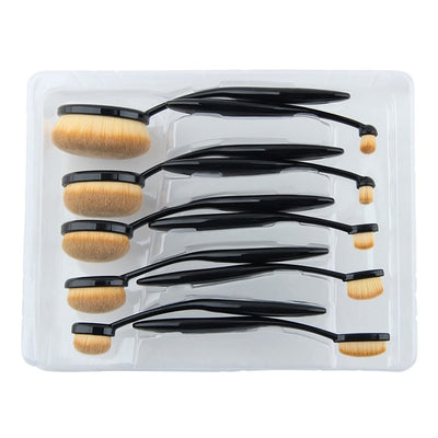 10 PCS Oval Makeup Brush Set Black Toothbrush Shape