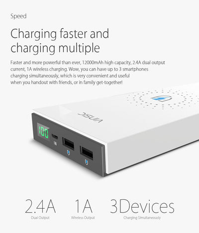 2 IN 1 Wireless Charger 12000mah Power Bank
