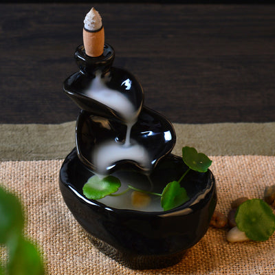 Black Ceramic Backflow Incense Holder