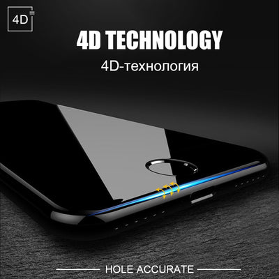 4D Round Curved Edge Tempered Glass For iPhone 6 6s Plus 7 8 X Full Cover Screen Protector