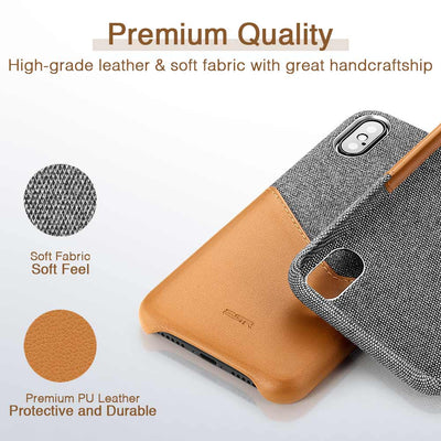 High Grade Leather Soft Fabric Card Slot Shockproof Case for iPhone X XS XR XS Max