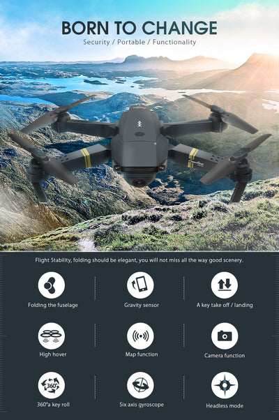 Skyhawk HD Foldable Air Selfie Drone With Camera - 2MP