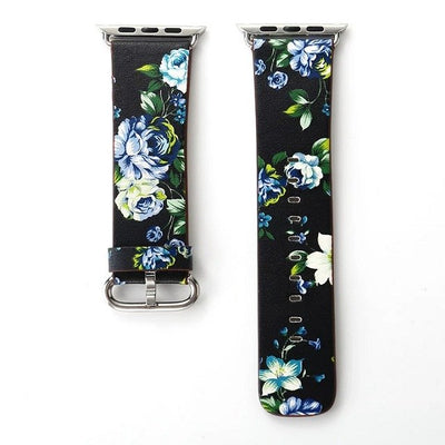Leather Watch Band for Apple Watch 42/44mm 38/40mm Series 1/2/3/4 Flower Strap Floral Prints
