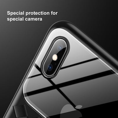 Grid Pattern Case Luxury Silicone + Tempered Glass Case for iPhone Xs Xs Max XR