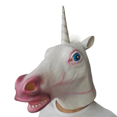 Creepy Horse tiger unicorn dog Rubber Animal Mask Kids Party Halloween