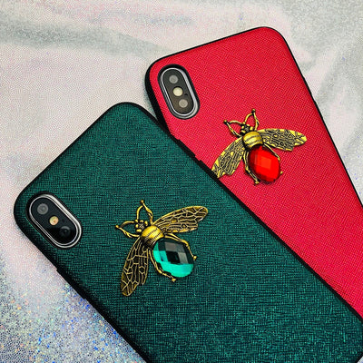 Luxury Fashion Brand Diamond Bee Glitter Soft Case for iPhone 6 6S 7 8 Plus X XR XS MAX