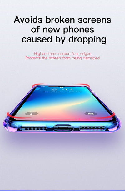 Gradient Soft Silicone Case for iPhone XS XS MAS XR Full Body Protective Back Phone Cover