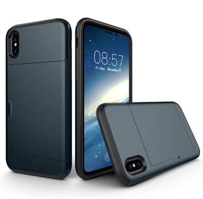 Hybrid Tough Slide Wallet Card Storage Armor Case for iPhone X XR XS MAX