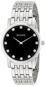 Bulova Diamond Accented Stainless Steel 96D106 Men's Watch