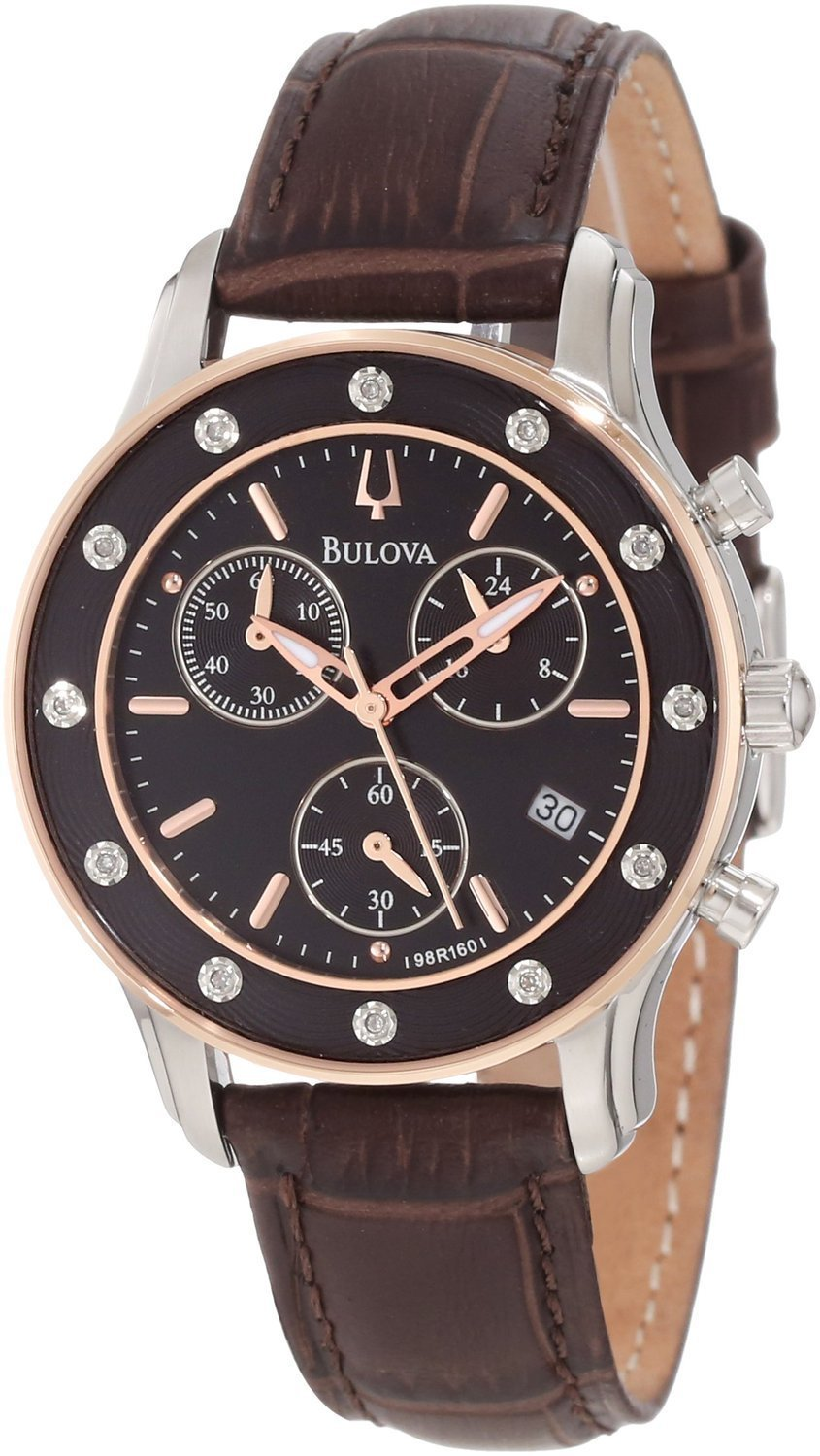 Bulova Precisionist Brown Dial Chronograph 98R160 Women's Watch