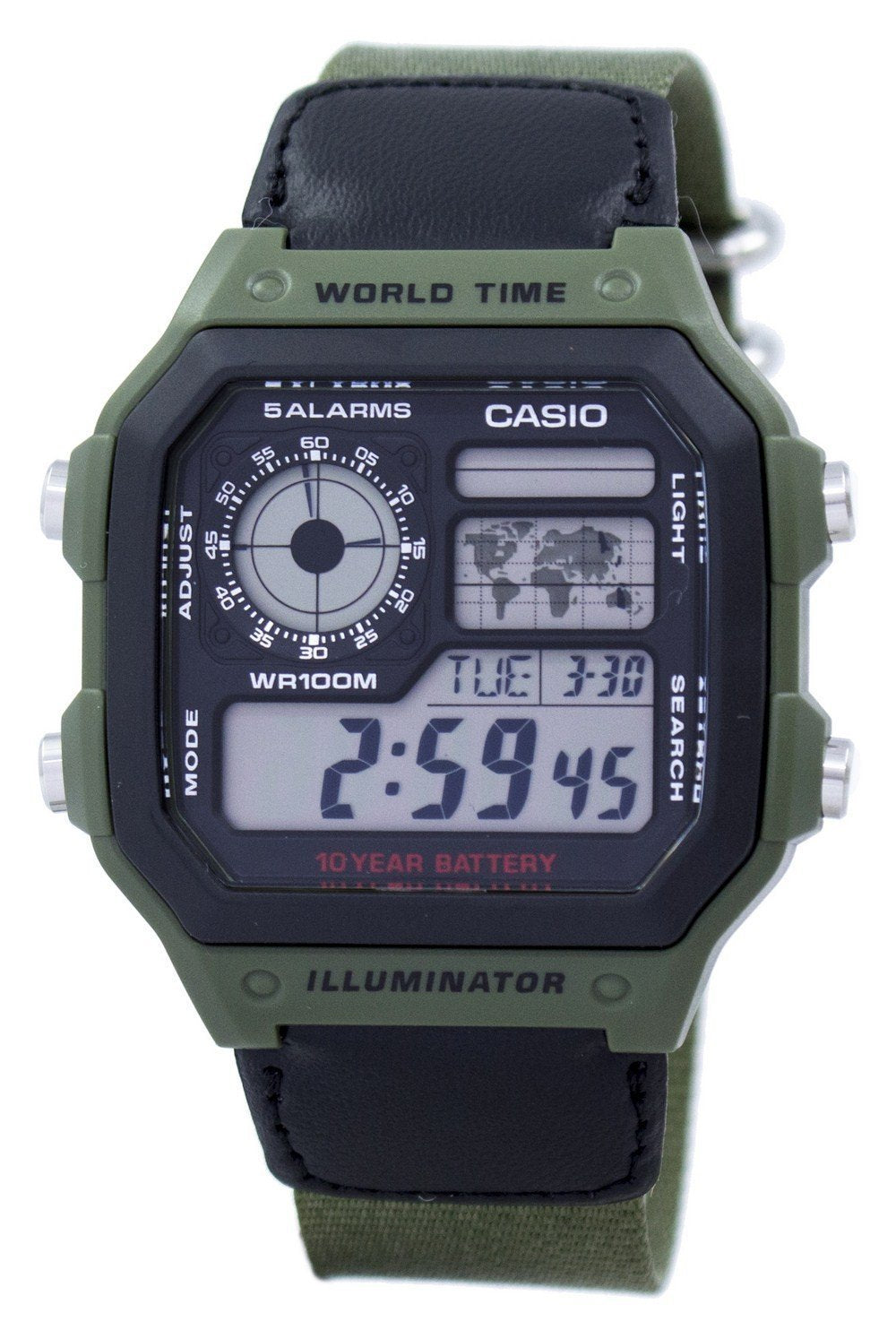 Casio World Time Alarm Digital AE-1200WHB-3BV AE1200WHB-3BV Men's Watch