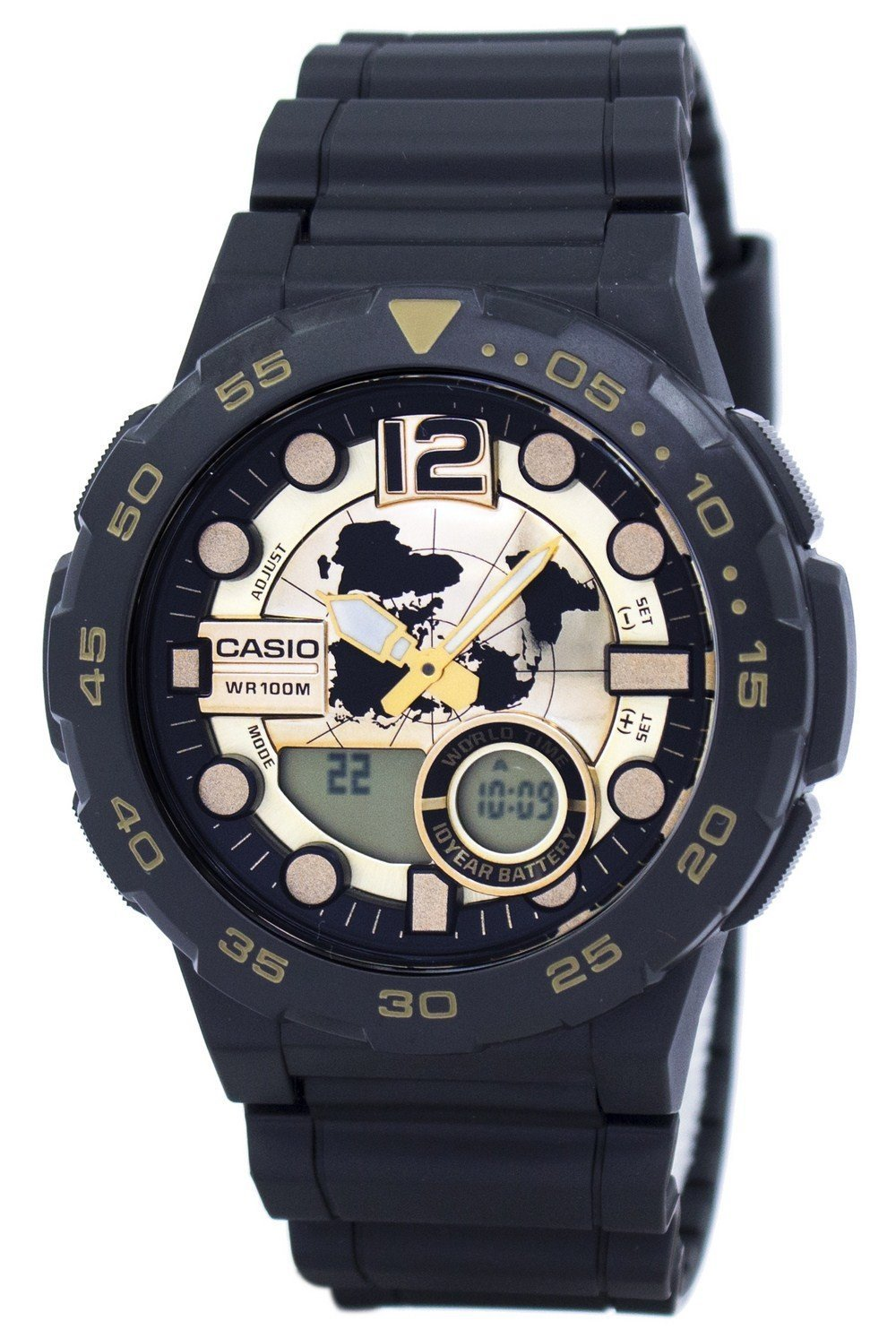 Casio World Time Alarm Analog Digital AEQ-100BW-9AV AEQ100BW-9AV Men's Watch