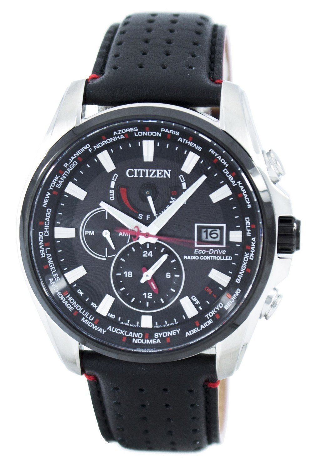 Citizen Eco-Drive Radio Controlled Chronograph World Time AT9036-08E Men's Watch