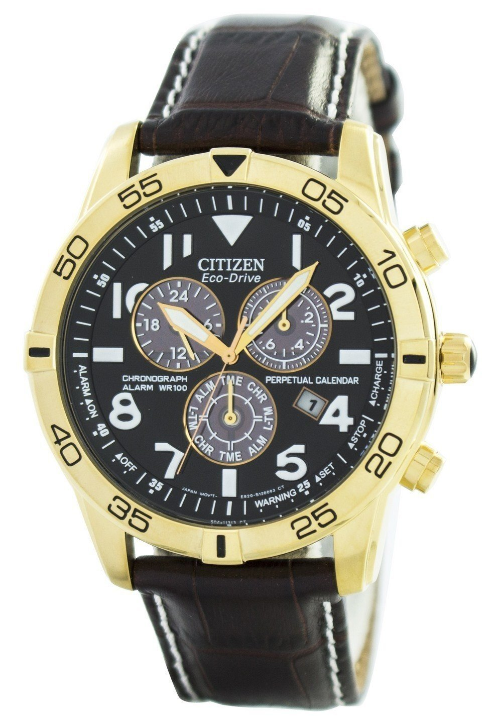 Citizen Eco-Drive Perpetual Calendar Chronograph Alarm 100M BL5472-01E Men's Watch