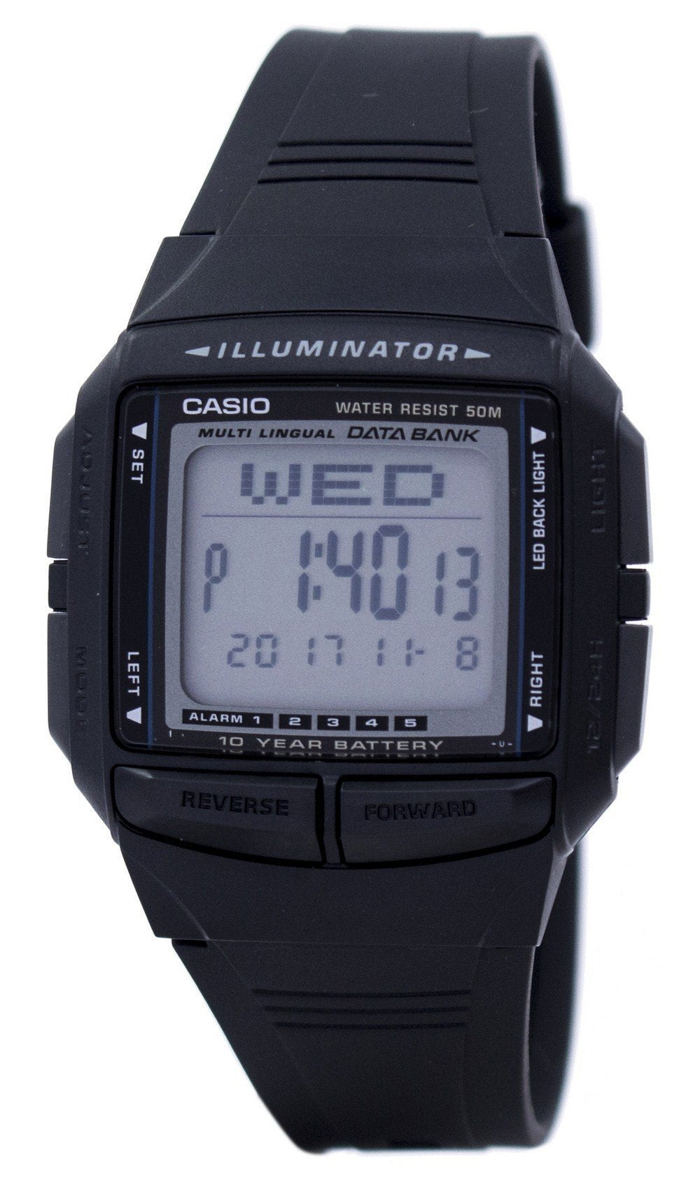 Casio Illuminator Multi-lingual Databank Dual Time Digital DB-36-1AV DB36-1AV Men's Watch