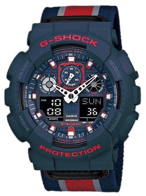 Casio G-Shock Military Cloth Red GA-100MC-2A Men's Watch